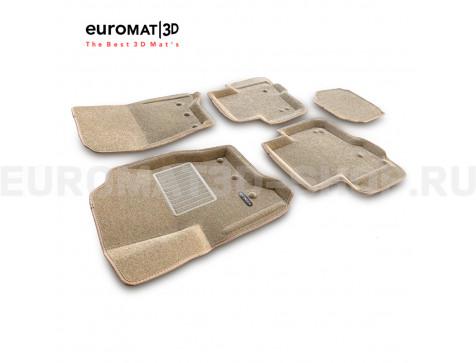 Текстильные 3D коврики Euromat3D Business в салон для Land Rover Discovery IV (2010-2016) № EMC3D-003108T Бежевые
