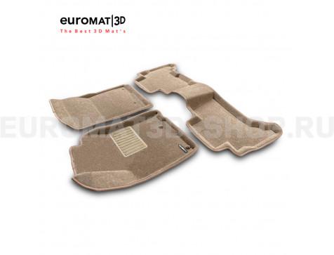 Текстильные 3D коврики Euromat3D Business в салон для Lexus GX460 (2010-2014) № EMC3D-005115T Бежевые