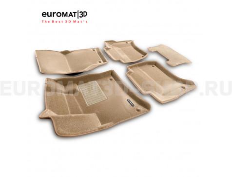 Текстильные 3D коврики Euromat3D Business в салон для Porsche Cayenne (2010-2017) № EMC3D-004101T Бежевые