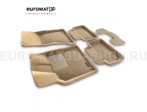 Текстильные 3D коврики Euromat3D Business в салон для Porsche Macan (2014-) № EMC3D-004103T Бежевые