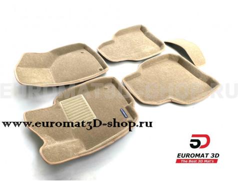 Текстильные 3D коврики Euromat3D Business в салон для Skoda Superb (2009-2014) № EMC3D-004509T Бежевые