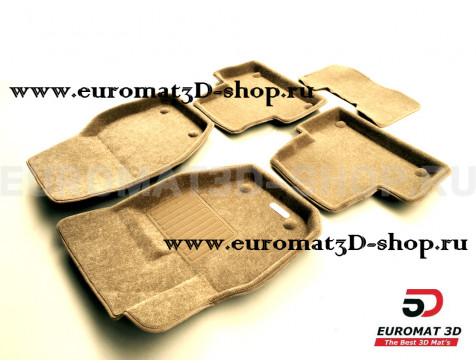 Текстильные 3D коврики Euromat3D Business в салон для Volvo S 60 (2010-2017) № EMC3D-005505T Бежевые
