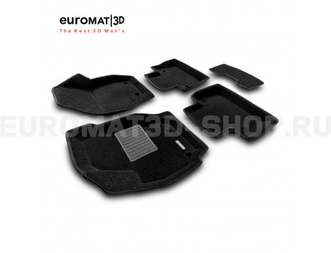 Текстильные 3D коврики Euromat3D Business в салон для Volvo XC 70 (2007-) № EMC3D-005507