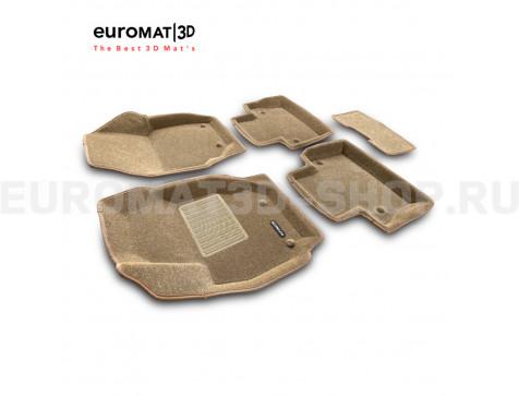 Текстильные 3D коврики Euromat3D Business в салон для Volvo XC 70 (2007-) № EMC3D-005507T Бежевые