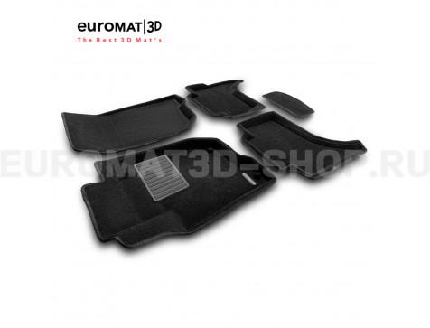 Текстильные 3D коврики Euromat3D Business в салон для Mitsubishi L200 (2007-2014) № EMC3D-003612