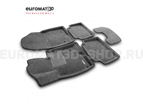 Текстильные 3D коврики Euromat3D Business в салон для Mazda 3 (2014-2018) № EMC3D-003411G Серые