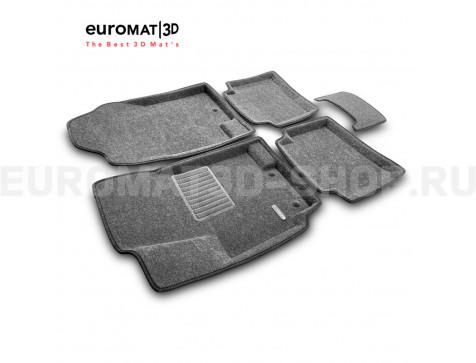 Текстильные 3D коврики Euromat3D Business в салон для Kia Rio (2011-2016) № EMC3D-002922G Серые