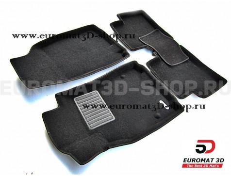 Текстильные 3D коврики Euromat3D Business в салон для Renault Megane 2 (2002-2009) № EMC3D-004201