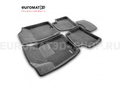 Текстильные 3D коврики Euromat3D Business в салон для Kia Cerato (2010-2013) № EMC3D-002722G Серые