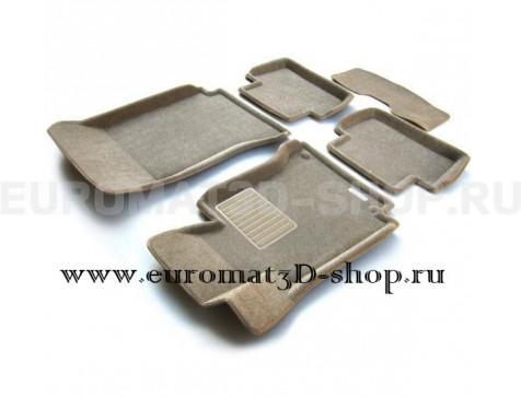 Текстильные 3D коврики Euromat3D Business в салон для Mercedes C-Class (W204) (2007-2014) № EMC3D-003503T Бежевый