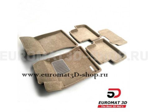 Текстильные 3D коврики Euromat3D Business в салон для Mercedes A-Class (W176) (2013-2018) № EMC3D-003516T Бежевые
