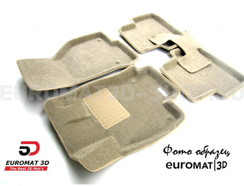 Текстильные 3D коврики Euromat3D Business в салон для Mitsubishi Pajero IV (2006-2020) № EMC3D-003610T Бежевые