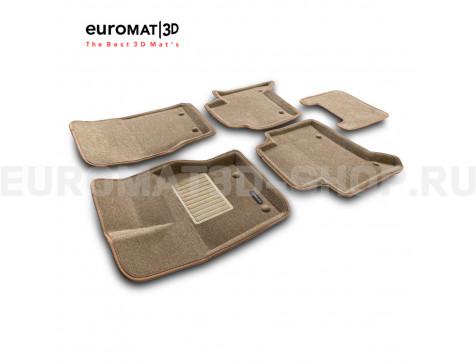 Текстильные 3D коврики Euromat3D Business в салон для Land Rover Discovery V (2017-) № EMC3D-003102T Бежевый