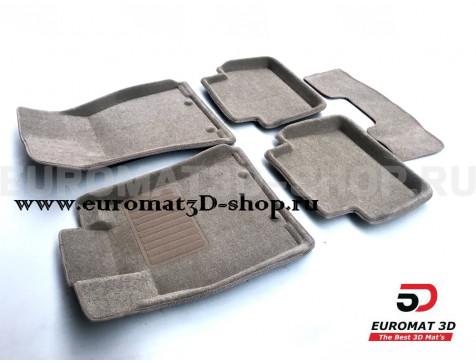 Текстильные 3D коврики Euromat3D Business в салон для Jaguar XF (2009-2014) № EMC3D-002750T Бежевые