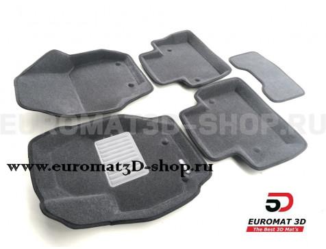 Текстильные 3D коврики Euromat3D Business в салон для Volvo S 80 (2006-) № EMC3D-005507G Серые