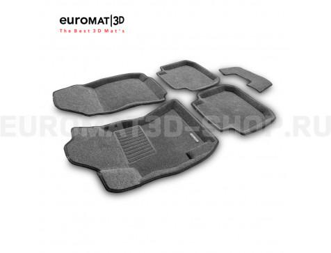 Текстильные 3D коврики Euromat3D Business в салон для Subaru Legacy (2010-) № EMC3D-004704G Серые