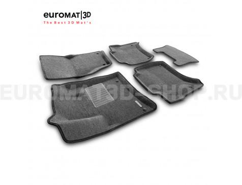 Текстильные 3D коврики Euromat3D Business в салон для Porsche Cayenne (2010-2017) № EMC3D-004101G Серые