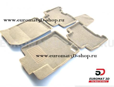 Текстильные 3D коврики Euromat3D Business в салон для Toyota 4Runner (2002-2009) № EMC3D-005141T Бежевые