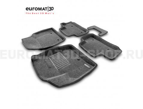 Текстильные 3D коврики Euromat3D Business в салон для Land Rover Freelander II (2006-2014) № EMC3D-003101G Серые