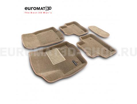 Текстильные 3D коврики Euromat3D Business в салон для Jaguar E-Pace (2018-) № EMC3D-002757T Бежевые
