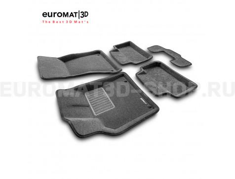 Текстильные 3D коврики Euromat3D Business в салон для Porsche Macan (2014-) № EMC3D-004103G Серые