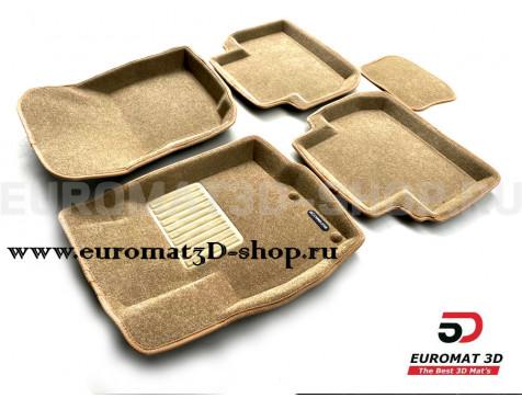 Текстильные 3D коврики Euromat3D Business в салон для Mitsubishi Outlander XL (2006-2012) № EMC3D-003609T Бежевые