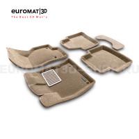 Текстильные 3D коврики Euromat3D Lux в салон для Volkswagen Passat B8 (2016-) № EM3D-004510T Бежевые