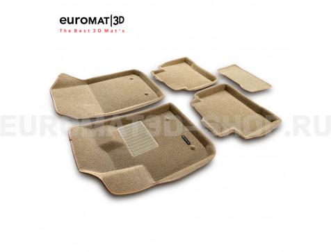 Текстильные 3D коврики Euromat3D Business в салон для Geely Tugella FY11 (2020-) № EMC3D-001408T Бежевые