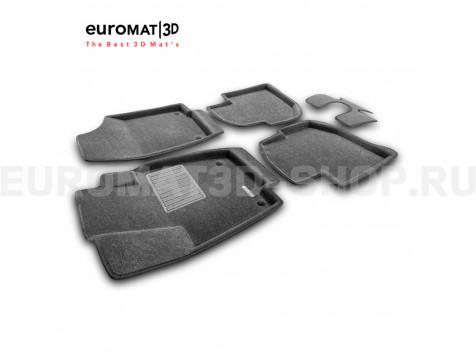 Текстильные 3D коврики Euromat3D Business в салон для Skoda Rapid (2014-2019) № EMC3D-004508G Серые